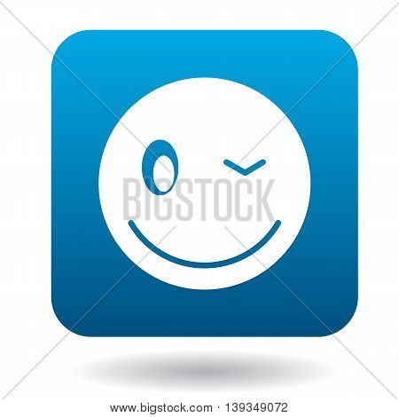 Eyewink emoticon icon in simple style on a white background