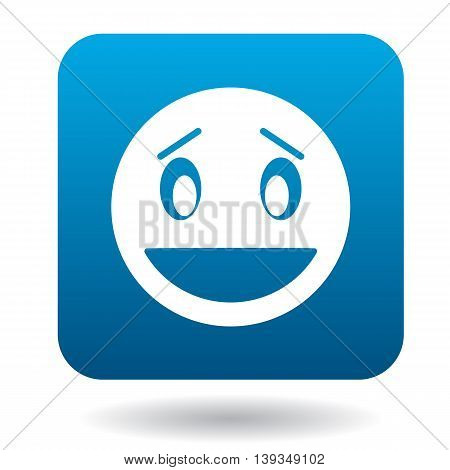 Surprised emoticon with open mouth icon in simple style on a white background