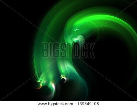 Abstract fractal green hydra computer generated image on black background