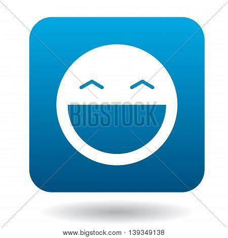 Laughing emoticon with open mouth and smiling eyes icon in simple style on a white background