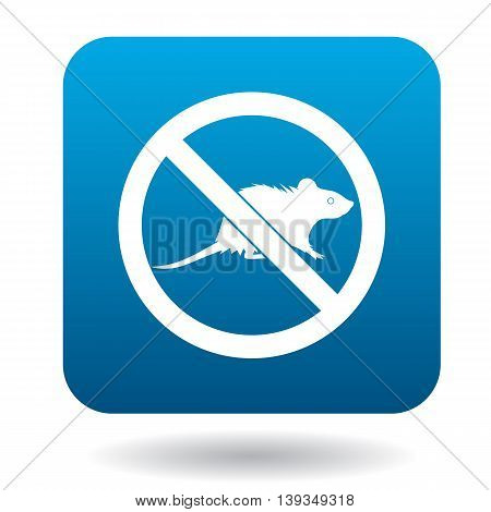 No rat sign icon in simple style on a white background