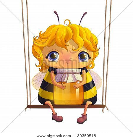Bee with a jar of honey. Animation character. Funny insect for your project. The isolated image on a white background. Hand drawn illustration.