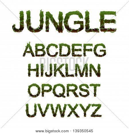 alphabet stylized in the shape of jungle vegetation. vector illustration