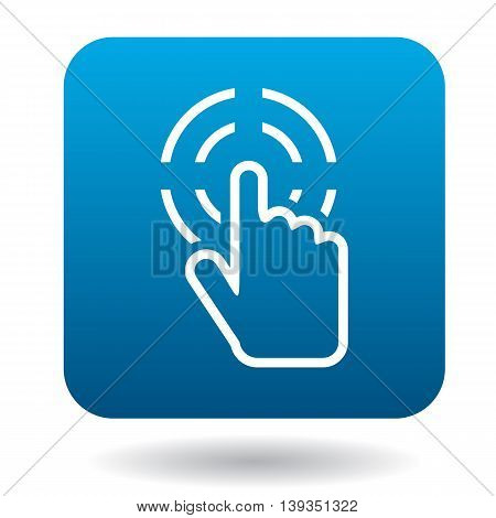 Hand cursor clicks icon in simple style on a white background