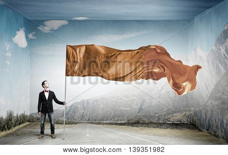 Guy with waving flag . Mixed media