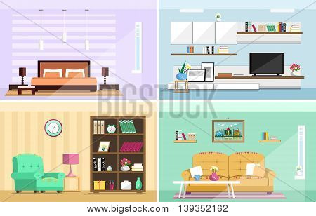 Set of colorful vector interior design house rooms with furniture icons: living room, bedroom. Flat style vector illustration.