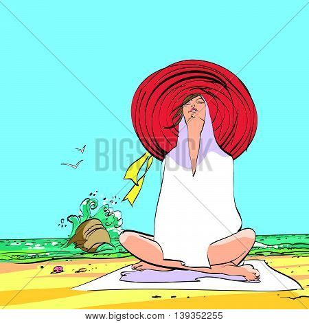 Young woman resting on the beach in a storm. Hand drawn vector illustration. Beach shore