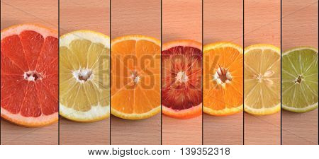 Slices Of Seven Different Citrus Varieties Arranged By Size