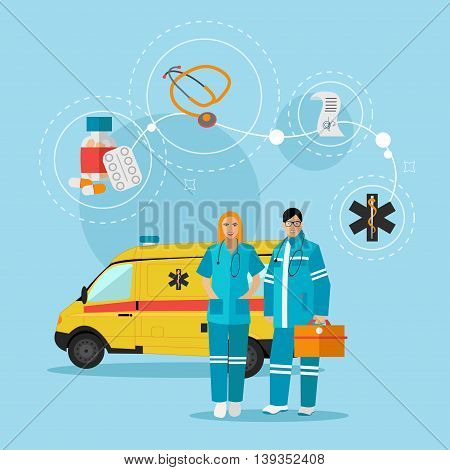 Ambulance car and emergency paramedic team. Vector illustration in flat style design. Medical help concept.