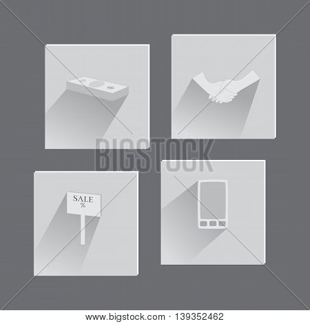 Set with Business Items Made in Flat Style. Suit for Web and Mobile Apps Usage. Vector EPS 10