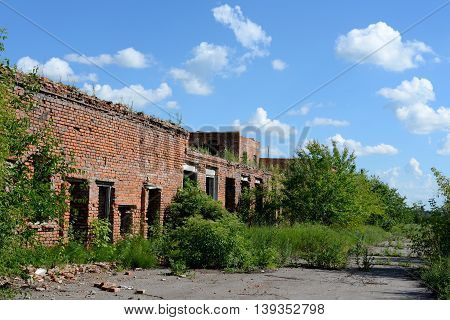 Unfinished abandoned building from a red brick