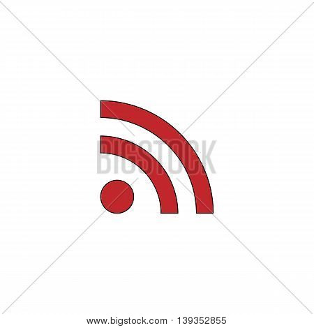 RSS. Red flat simple modern illustration icon with stroke. Collection concept vector pictogram for infographic project and logo