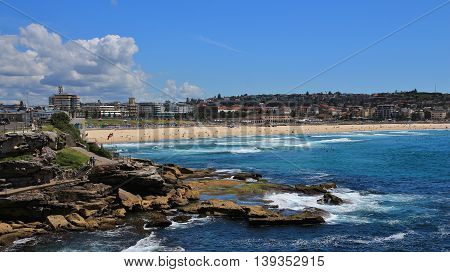 Azure blue Pacific and Bondi Beach. Famous beach in Sydney.