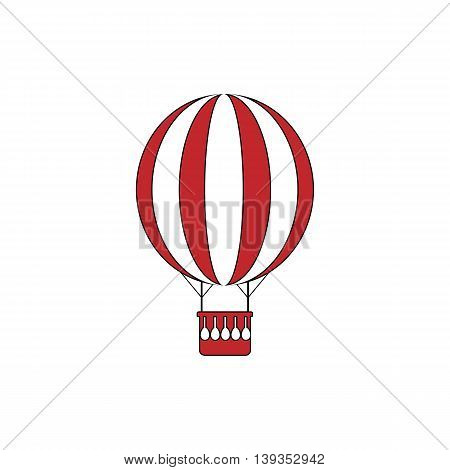 Balloon journey. Red flat simple modern illustration icon with stroke. Collection concept vector pictogram for infographic project and logo