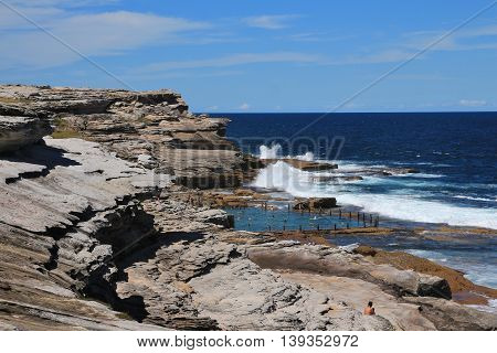 Blue pacific and rock pool. Coastal scene in Sydney.