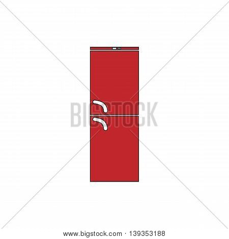 Refrigerator. Red flat simple modern illustration icon with stroke. Collection concept vector pictogram for infographic project and logo