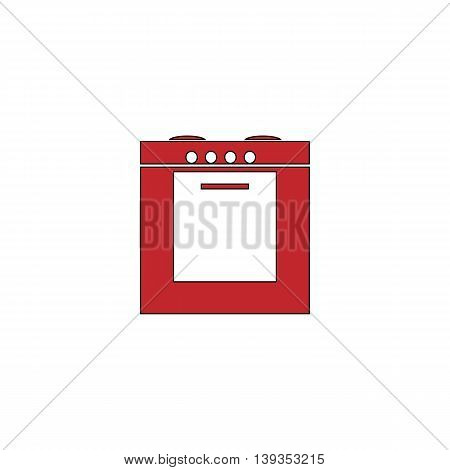 Stove. Red flat simple modern illustration icon with stroke. Collection concept vector pictogram for infographic project and logo