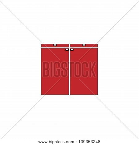 Cabinet. Red flat simple modern illustration icon with stroke. Collection concept vector pictogram for infographic project and logo