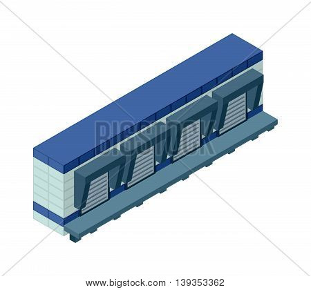 Industrial building infographic element isometric industrial factory