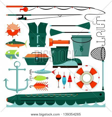 Big set of fishing elements. Flat design. Fishing hooks, rod boat, anchor and other. Vector Illustration.