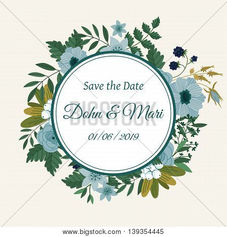 Cute wedding invitation to celebration on card with flowers decoration vector illustration. Wedding invintation card template. Flower leaf bunch. Wedding invintation. Flowers card. Layout of wedding invitation card. Flowers on frame. Wedding invintation d