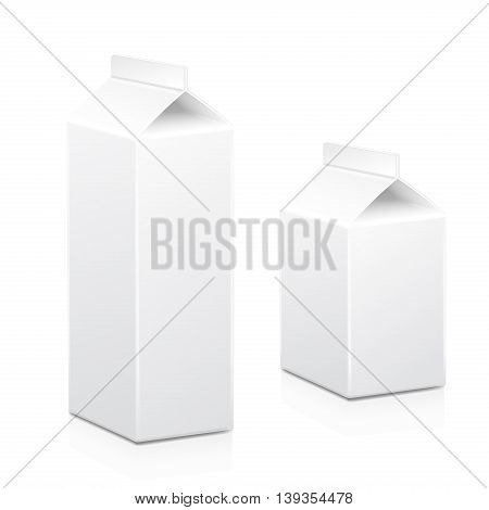 Milk and juice carton box packages blank white, Vector isolated