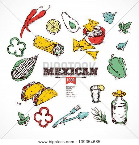Vector design template for Mexican restaurant. hot spices