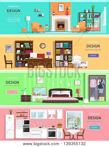 Set of colorful vector interior design house rooms with furniture icons: living room, bedroom, kitchen and home office. Flat style vector illustration.