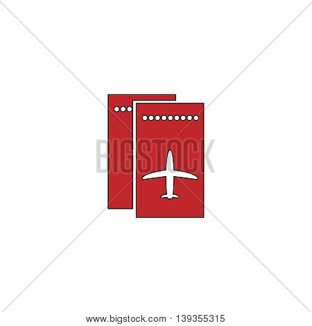 Airline ticket. Red flat simple modern illustration icon with stroke. Collection concept vector pictogram for infographic project and logo