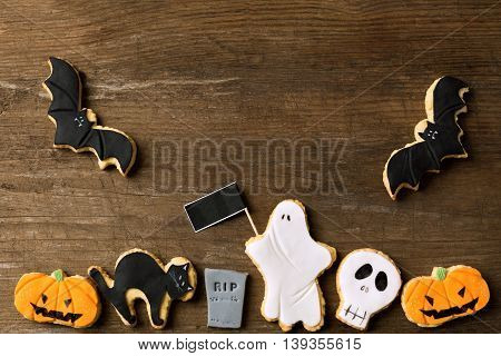 Halloween homemade gingerbread cookies background, close up