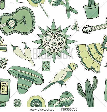 Seamless pattern with hand drawn mexican elements. Perfect background for your design. Travel to Mexico texture.