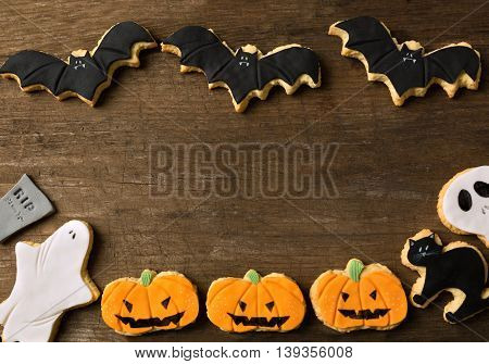 Halloween background on old wood, close up