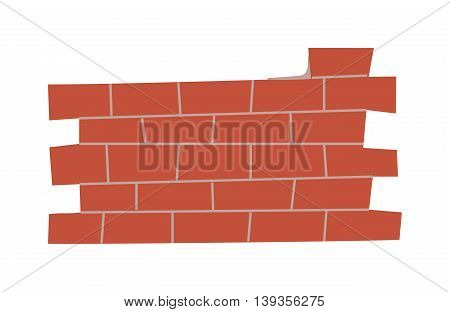 Brick wall texture pattern and cartoon urban brown construction.