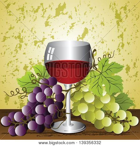 Glass of Wine on the grunge background with grapes