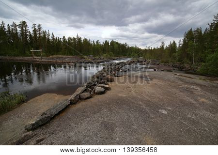 Swedish River In Haelsingland With Rock Ground