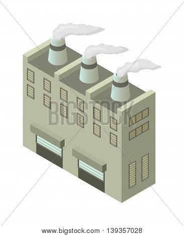 Isometric factory building vector icon. Industrial building infographic element isometric industrial factory