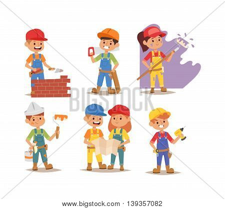 Builders kids boy and girl builder with tools. Fun young profession.
