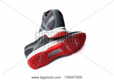 New Unbranded Running Shoe Color Black And Red, Sneaker Or Trainer Isolated On White Background