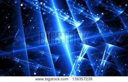 Bright abstract blue star background with bokeh. Fractal art pattern for wallpaper interior album flyer cover poster booklet
