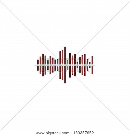 Sound waveequalizer music. Red flat simple modern illustration icon with stroke. Collection concept vector pictogram for infographic project and logo