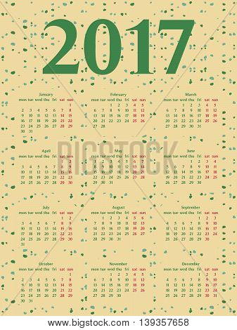 2017 year calendar template. Colorful decorative design.