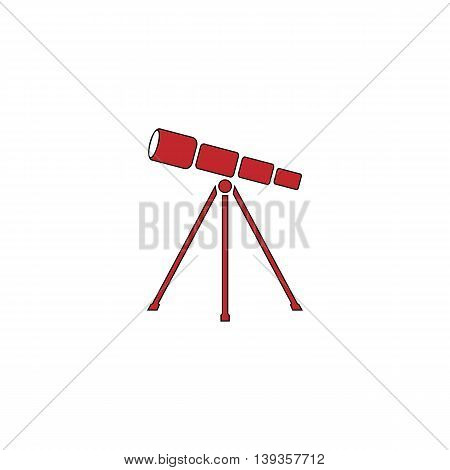 Telescope. Red flat simple modern illustration icon with stroke. Collection concept vector pictogram for infographic project and logo