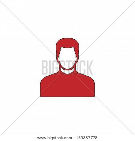 Male avatar profile picture. Red flat simple modern illustration icon with stroke. Collection concept vector pictogram for infographic project and logo