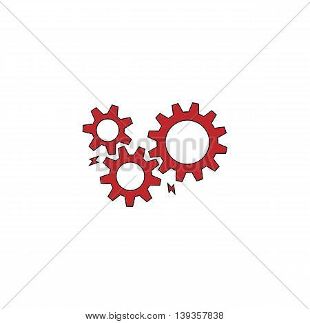 Gear with sparks. Red flat simple modern illustration icon with stroke. Collection concept vector pictogram for infographic project and logo