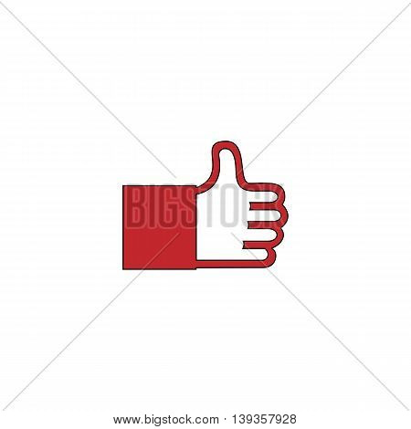 Thumb up. Red flat simple modern illustration icon with stroke. Collection concept vector pictogram for infographic project and logo