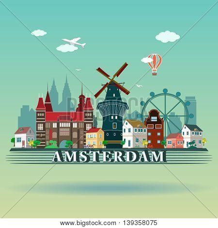 Modern vector Amsterdam city Skyline Design. Netherlands