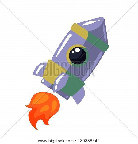 Cartoon rocket vector illustration. Retro style spaceship on a white background, interstellar travelling, shuttle illustration