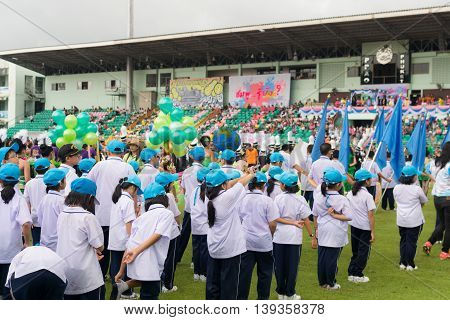 Phuket, Thailand - Jul 13 : Parade Of Schoolchild In The Stadium