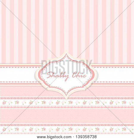 shabby chic. provence style. pink background. congratulations or invitation card. template. album cover. frame with flowers