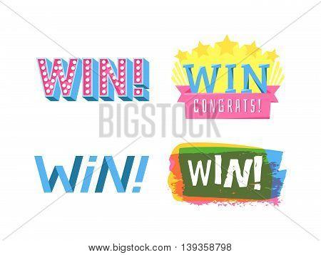 Win sign with colour confetti vector paper illustration.